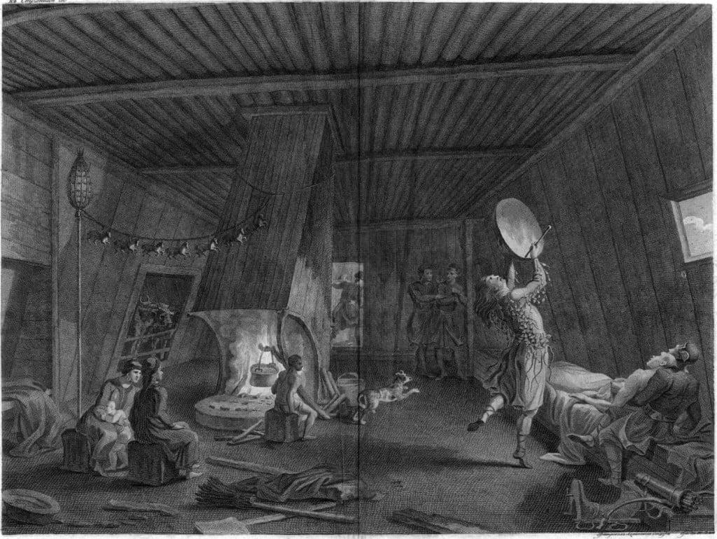 Якутский шаман призывает духов для излечения больного