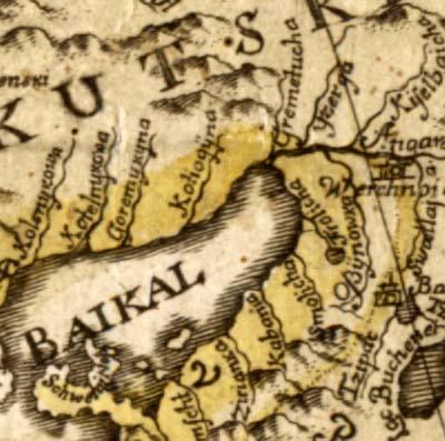 Фрагмент карты Штраленберга, 1730 г.
