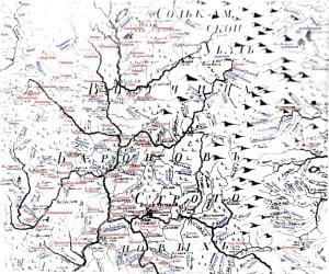 Старинная карта «Вотчина Баронов Строгановых» с расшифровкой (клик для увеличения, источник https://ru.wikipedia.org/)
