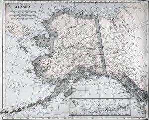 Карта Аляски (клик для увеличения, L. L. Poates Eng. Co.)