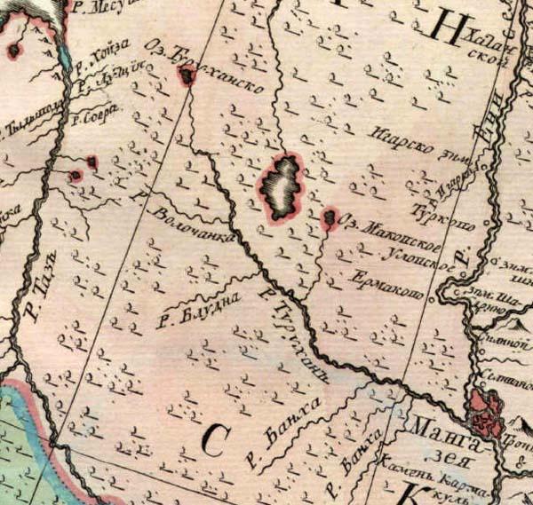 Таз, Турухан и Енисей на Атласе 1745 года